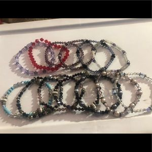 Assorted crystal bead stretchy bracelets
